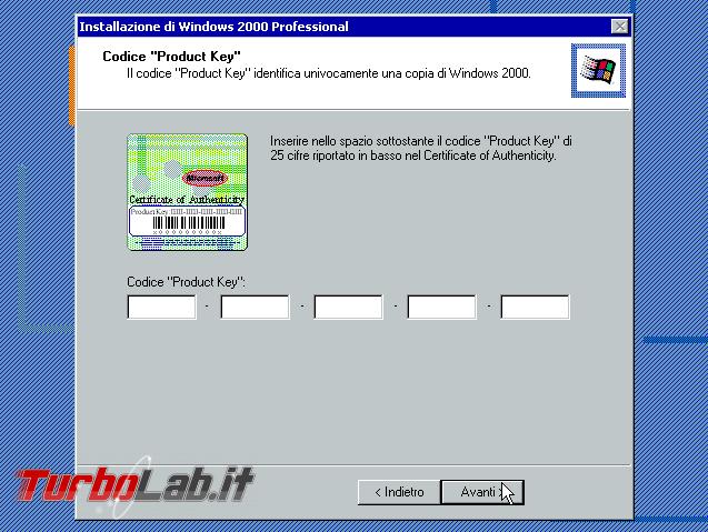 Scaricare Windows 2000 CD/ISO italiano: download diretto ufficiale (edizione Professional Service Pack 4, MSDN) - windows 2000 setup product key