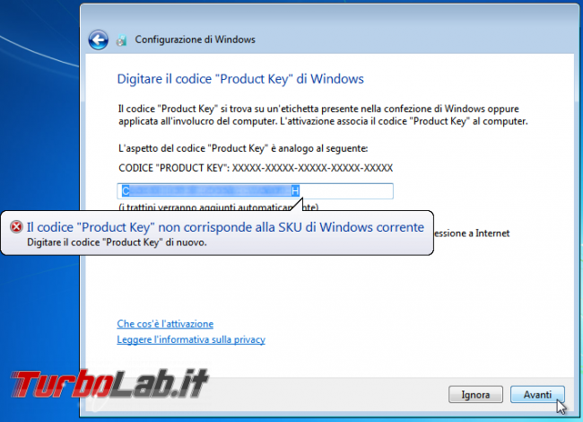 Scaricare Windows 7 DVD/ISO italiano: download diretto ufficiale - windows 7 product key sku non corrispondente