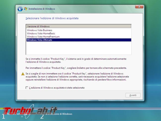 Scaricare Windows Vista DVD/ISO italiano: download diretto ufficiale - windows vista setup edizione