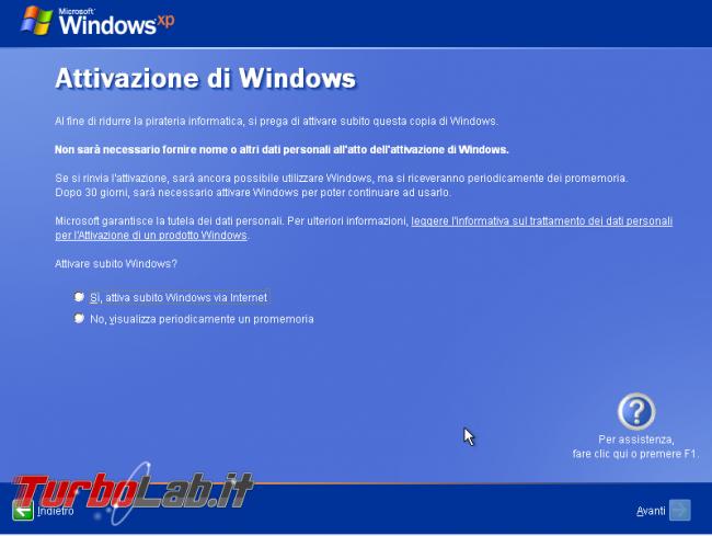 Scaricare Windows XP CD/ISO italiano: download diretto ufficiale - windows xp sp3 setup oobe attivazione 30 giorni