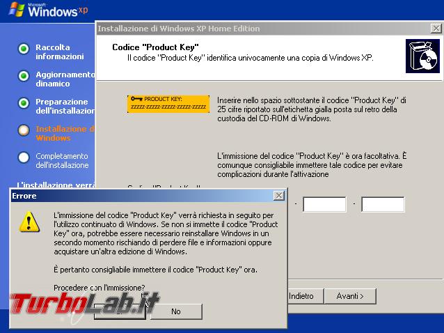 Scaricare Windows XP CD/ISO italiano: download diretto ufficiale - windows xp sp3 setup product key facoltativa