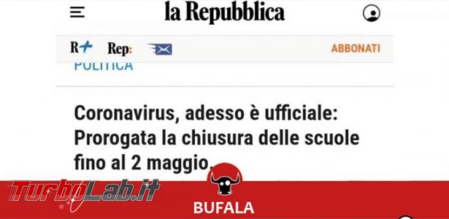 """Scuole chiuse fino 2 maggio: non scrive """" Repubblica"""". ' bufala! - FrShot_1584609726"""