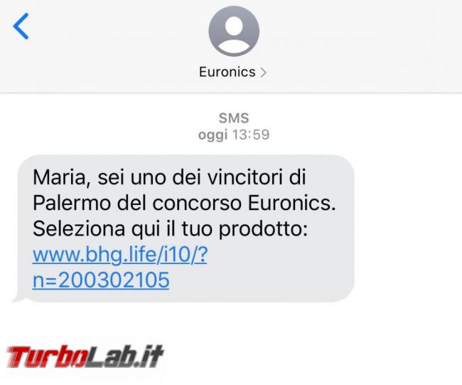 Sei vincitori concorso/lotteria Euronics: SMS truffa bhg.life bhb.life - FrShot_1592629350