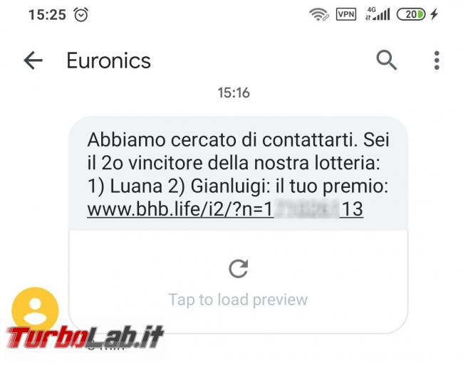 Sei vincitori concorso/lotteria Euronics: SMS truffa bhg.life bhb.life - Screenshot_2020-07-09-15-25-10-050_com.google.android.apps.messaging