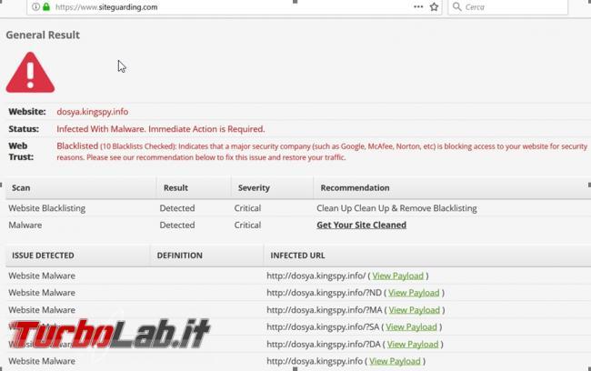 servizi online scoprire se sito è infetto pericoloso