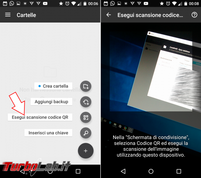 Sincronizzare automaticamente file Android PC Windows, senza cloud: guida Resilio Sync (BitTorrent Sync) - resilio sync scan qr