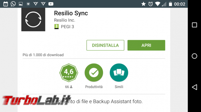 Sincronizzare automaticamente file Android PC Windows, senza cloud: guida Resilio Sync (BitTorrent Sync) - Screenshot_2016-10-11-00-02-30