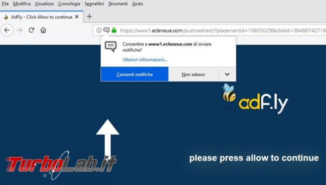 """Sito web non si vede: come risolvere problema """"Please press allow to continue"""" (Adf.ly)"""