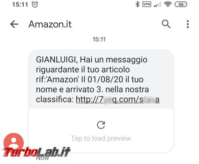 SMS Amazon: Hai messaggio riguardante articolo nome arrivato 3. classifica - Hai un messaggio riguardante il tuo articolo Amazon