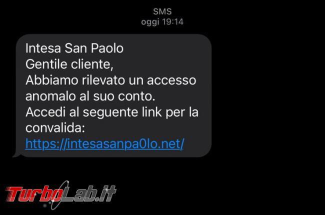 SMS Intesa San Paolo: abbiamo rilevato accesso anomalo conto - 8e12083a-517b-4af5-abbf-4cae7a4ebd5a