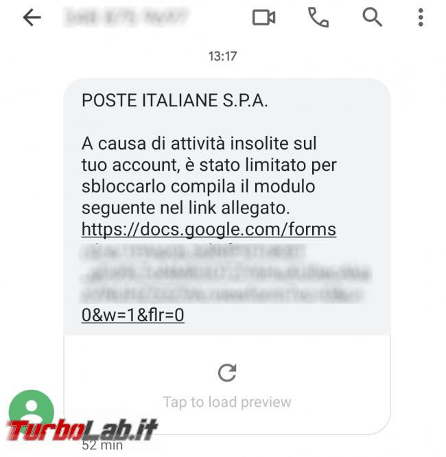 SMS Poste Italiane: causa attività insolite account, è stato limitato - Screenshot_2020-11-09-14-10-16-517_com.google.android.apps.messaging