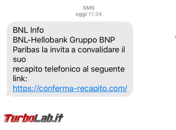 SMS truffa BNL Info BNP Paribas chiede convalida recapito telefonico - FrShot_1600579726
