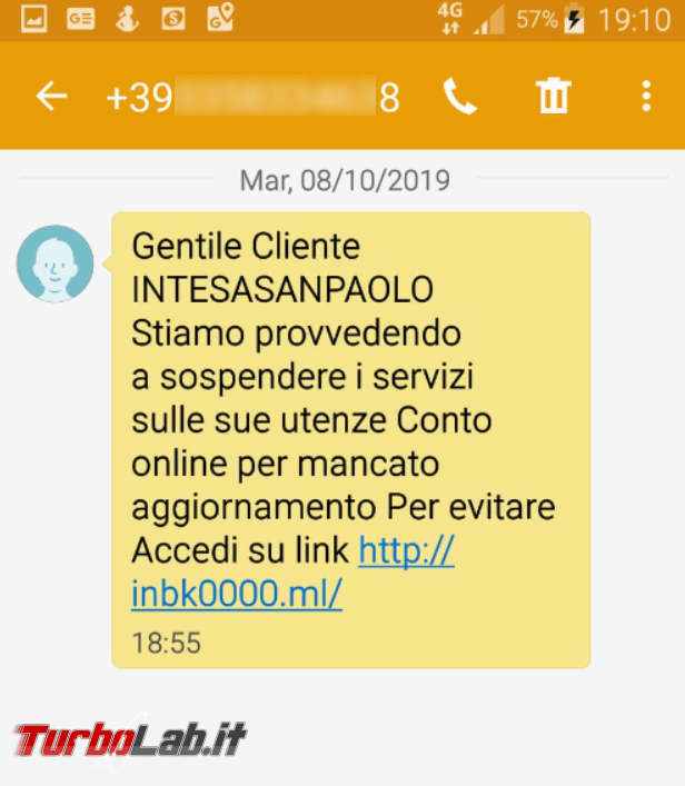 SMS truffa Intesa San Paolo - FrShot_1570566048