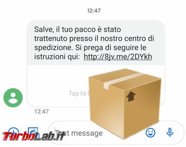 SMS truffa: pacco è stato trattenuto presso centro spedizione