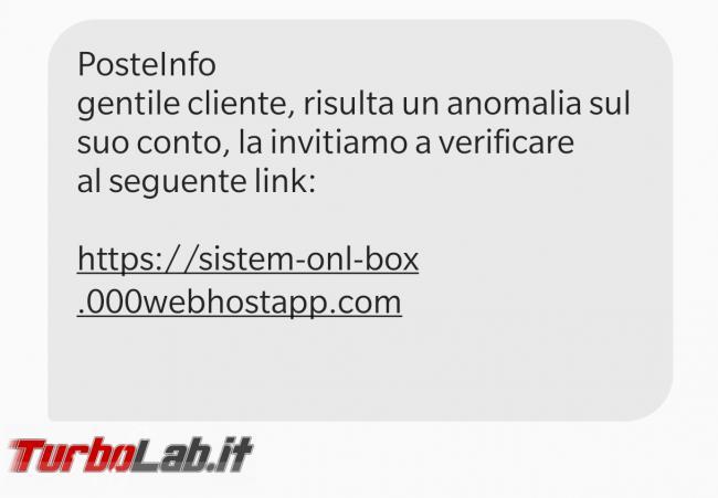 SMS truffa PosteInfo segnala anomalia conto: non cliccate link! - Screenshot_20210301-112541