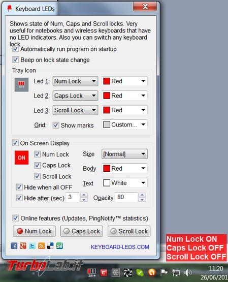 Spostare led indicatori tastiera desktop