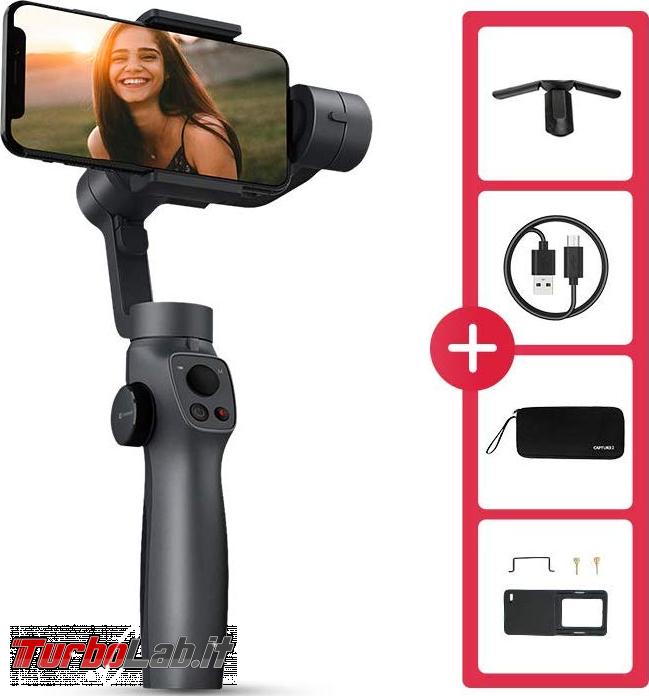 Stabilizzatore smartphone Funsnap Capture 2: recensione, video-prova, impressioni d'uso (gimbal) - funsnap capture 2 accessori