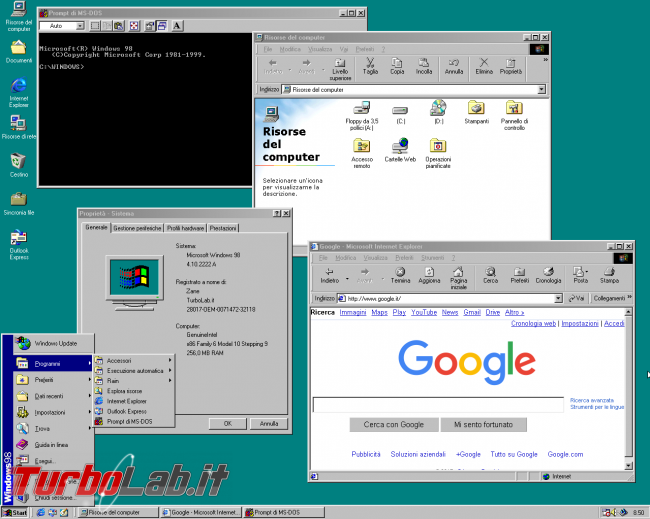 storia Windows, anni 1998 1999: Windows 98 Windows 98 Second Edition - windows 98 desktop