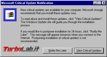 storia Windows, anni 1998 1999: Windows 98 Windows 98 Second Edition - Windows_98_-_Critical_Update_Notification