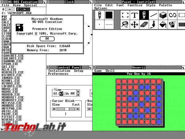 storia Windows, anno 1985: Windows 1.0 - Microsoft windows 1.0 premiere edition