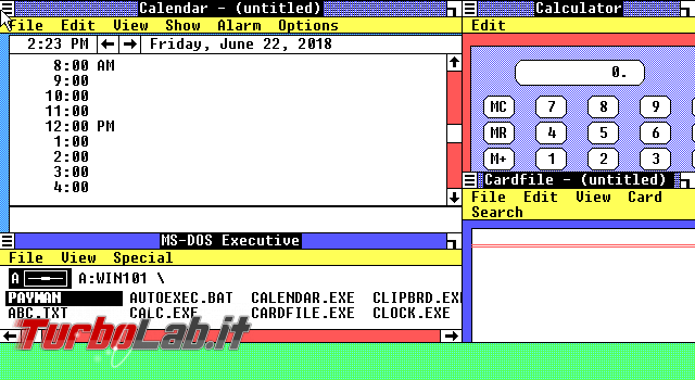storia Windows, anno 1985: Windows 1.0 - VirtualBox_MS-DOS_22_06_2018_14_23_43