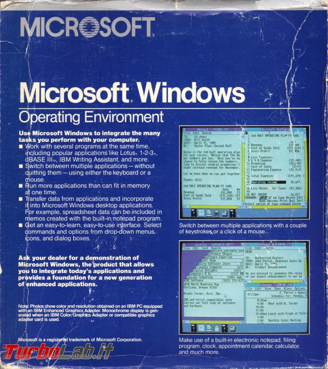 storia Windows, anno 1985: Windows 1.0 - windows 1.0 box back