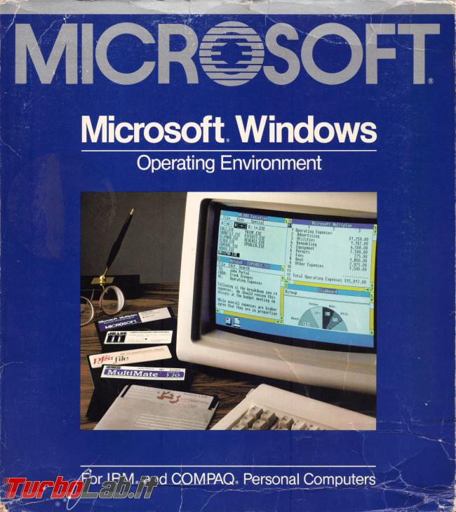 storia Windows, anno 1985: Windows 1.0 - windows 1.0 box front