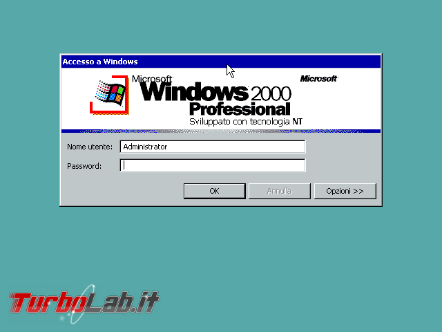 storia Windows, anno 2000: Windows 2000 - windows 2000 login