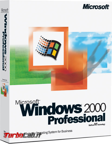 storia Windows, anno 2000: Windows 2000 - windows 2000 professional box