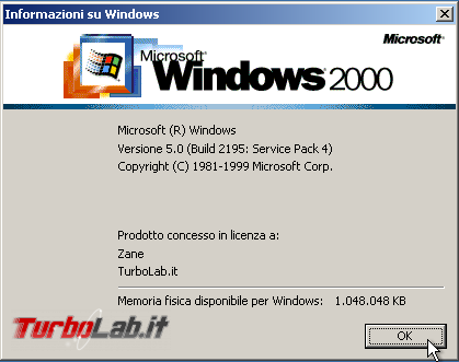 storia Windows, anno 2000: Windows 2000 - windows 2000 winver