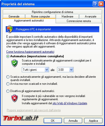 storia Windows, anno 2001: Windows XP - windows xp aggiornamenti automatici windows update