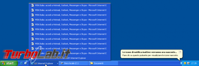 storia Windows, anno 2001: Windows XP - windows xp barra applicazioni taskbar