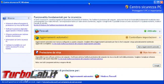 storia Windows, anno 2001: Windows XP - windows xp Centro sicurezza PC Windows