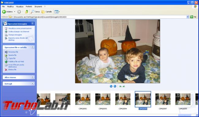 storia Windows, anno 2001: Windows XP - windows xp explorer visualizzazione sequenza foto