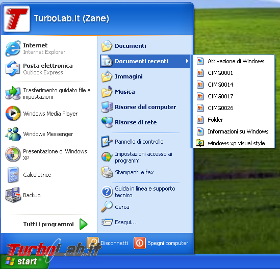 storia Windows, anno 2001: Windows XP - windows xp menu start