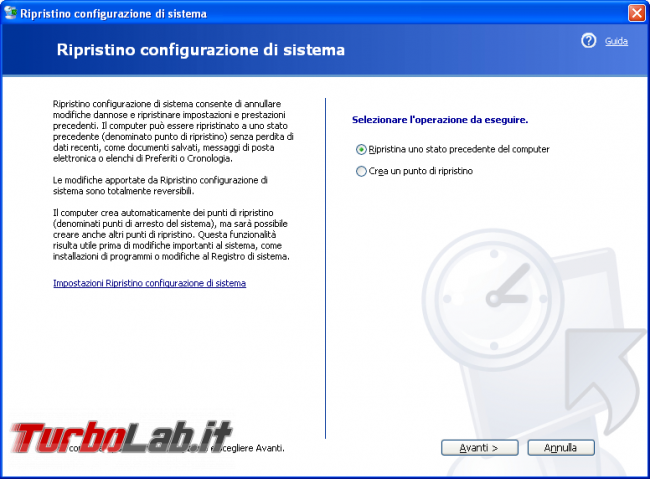 storia Windows, anno 2001: Windows XP - windows xp ripristino configurazione di sistema