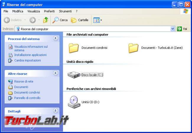 storia Windows, anno 2001: Windows XP - windows xp risorse del computer windows explorer