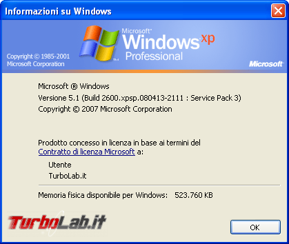 storia Windows, anno 2001: Windows XP - windows xp winver