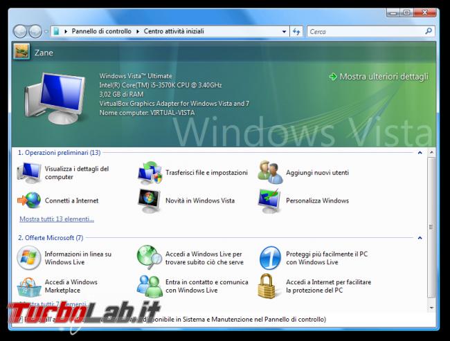 storia Windows, anno 2006: Windows Vista - Centro attività iniziali