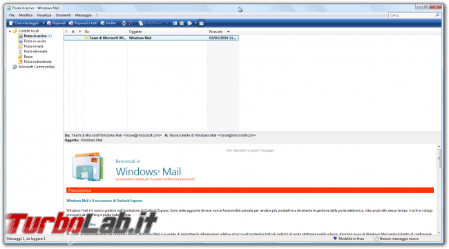 storia Windows, anno 2006: Windows Vista - Posta in arrivo - Windows Mail
