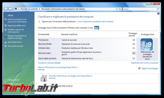 storia Windows, anno 2006: Windows Vista - Strumenti e informazioni sulle prestazioni del sistema WinSAT