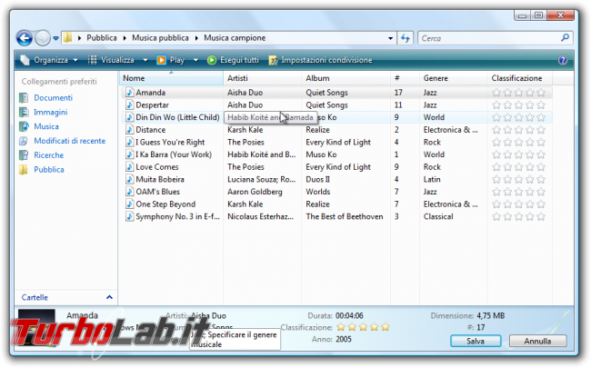 storia Windows, anno 2006: Windows Vista - windows vista explorer metadata id3