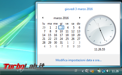 storia Windows, anno 2006: Windows Vista - windows vista orologio calendario