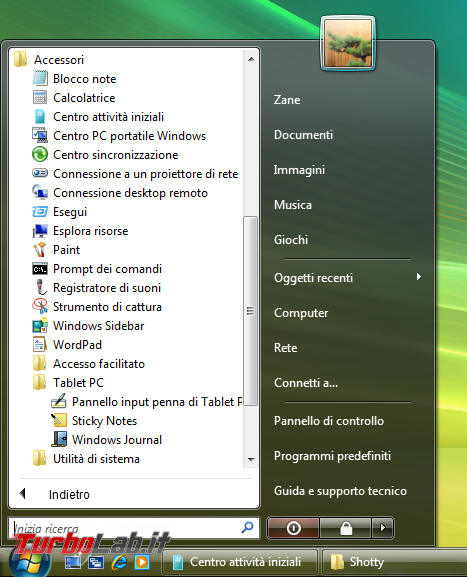 storia Windows, anno 2006: Windows Vista - windows vista start tutti i programmi
