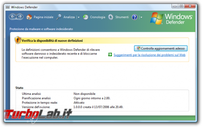 storia Windows, anno 2006: Windows Vista - windows vista Windows Defender