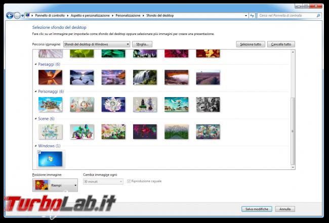 storia Windows, anno 2009: Windows 7 - windows 7 scelta sfondo