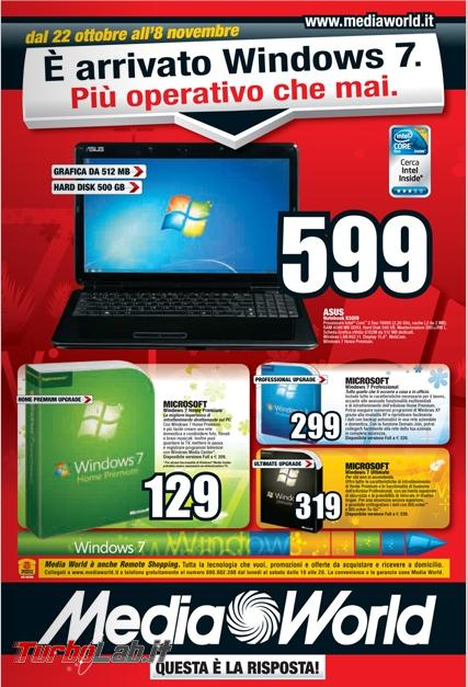 storia Windows, anno 2009: Windows 7 - windows 7 volantino mediaworld