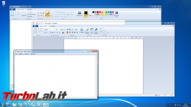 storia Windows, anno 2009: Windows 7 - windows 7 wordpad paint blocco note