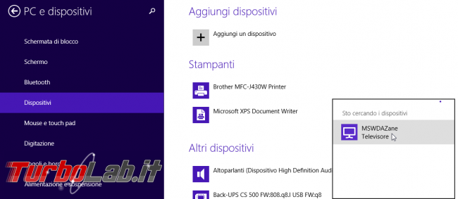 storia Windows, anno 2013: Windows 8.1 - aggiungi dispositivi wireless tv televisore