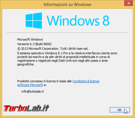 storia Windows, anno 2013: Windows 8.1 - winver windows 8.1
